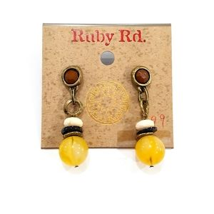 NWT Ruby Rd. Dangle Yellow Brown Beaded Earrings